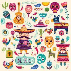 Mexican symbols by MoleskoStudio on @creativemarket
