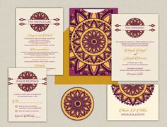 Items similar to The Kalindi Chakra Collection - Indian Wedding Invitations - A colorful medallion with a touch of gold on Etsy Welcome Card, Communion Invitations, Indian Wedding Invitations, Reception Card, Colored Highlights, Personalized Invitations, Touch Of Gold, Invitation Set