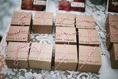 when the RSVP arrives in the mail, stamp the guests name on the favor box. creates the list of guests as well as the favor. Brilliant!