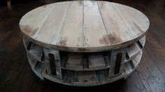 Round Industrial Chic Coffee Table, Pallet Wood Coffee Table, Beach Cottage Chic,  Rustic Coffee Table,  Coffee Table