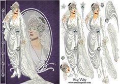 Vintage Bride Reflection Decoupage