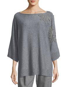 97785bca2d2b Lafayette 148 New York Vanise Luxe Cashmere Sweater w  Chain-Trim Floral  Applique