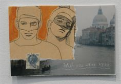 A postcard show without an image of Venice?  Impossible! Postcards from the Edge, benefit for VISUAL AIDS. Jan.24, 2014 held at Luhring Augustine Gallery. #venice #postcard