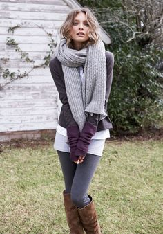 boots leggings knit top with a big scarf