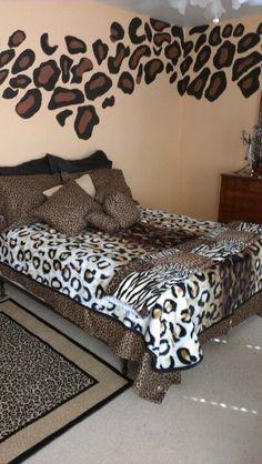 Leoparden, Bett, Schlafzimmer, Ideen, Gepardenmuster Druck Schlafzimmer,  Leopardenzimmer, Leoparden Schlafzimmerdekor, Gepardenmuster Druck Dekor,  ...