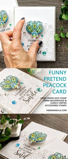 Create a funny pretend peacock card using Simon Says Stamp Emma Background stamp and Cuddly Critter Accessories stamp set. Watch video tutorial here http://www.yanasmakula.com/?p=56699