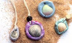 Make an easy DIY seashell necklace for your little mermaid - this easy jewelry making craft for kids is also a perfect summer camp activity for tweens and teens! It's made from air dry clay and a super cool glaze, with instructions for adding different textures to the clay. #jewelrymakingforpreschoolers