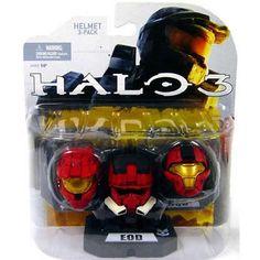 SET 1 MARK VI (Red) EOD (Red) CQB (Red) Halo 3 Helmets 3 Pack McFarlane