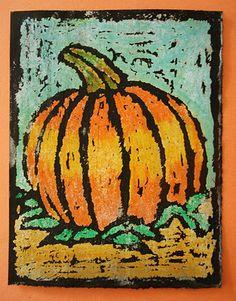 Squarehead Teachers: Fun Halloween Art/Craft Projects for Kids (oil pastel resist pumpkin)