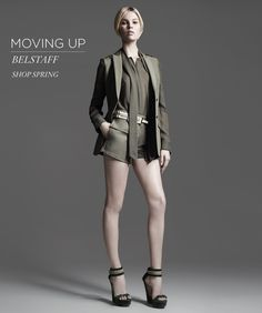 Moving Up: Belstaff Love this ensemble, its chic and looks very nicely tailored. Belstaff, Bergdorf Goodman, Spring Colors, Women's Fashion, Fashion Design, Military Jacket, Spring Summer, Urban, Chic