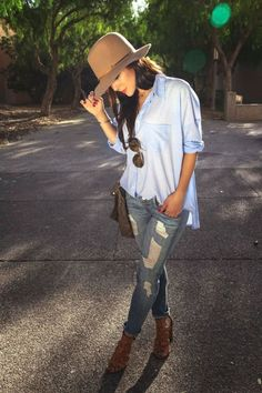 distressed skinnies and oversized button down