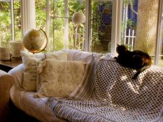 """Desire to Inspire's """"Mondays-pets-on-furniture"""".  I love looking at other people's style of living and the presence of an animal makes every room warmer."""