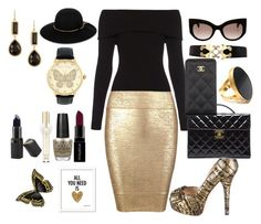 """""""Colour Combination ~ Black & gold"""" by moniquedawson09123 ❤ liked on Polyvore featuring A.L.C., Posh Girl, Fendi, Chanel, MaxMara, Lanvin, Yossi Harari, Anna Beck, Betsey Johnson and Smashbox"""