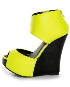 Why must these be sold out??? Sadness   Privileged Solefoo Neon Yellow Cuffed Platform Wedges