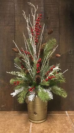 DIY Christmas Floral Arrangements - DIY Cuteness - DIY Christmas Floral Arrangements – DIY Cuteness Best Picture For raised garden For Your Taste - Winter Floral Arrangements, Christmas Flower Arrangements, Christmas Flowers, Christmas Wreaths, Christmas Crafts, Winter Christmas, Christmas Ideas, Merry Christmas, Christmas Planters