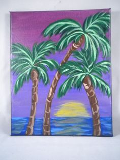 Acrylic Original Painting Palm Tree Painting by HeartsAndKeys