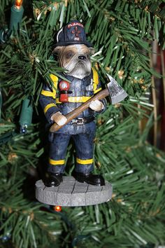 Recycled Bulldog Firefighter Christmas Ornament by jewelryonmymind, $6.00