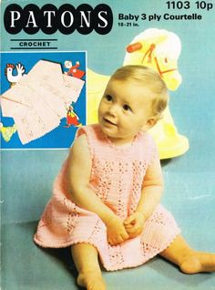 Patons 1103 baby dress and matinee coat vintage by Ellisadine, £1.00
