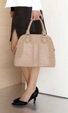 classic coach bags outlet fmie  Polished vegan leather structured satchel + suede d'Orsay mid heel with a  pointed toe