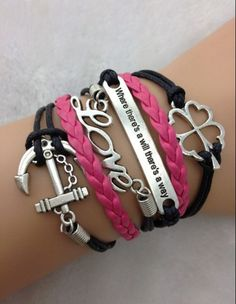 Where there's a will there's a way, Love, Four-Leaf Clover & anchor wrap Bracelet.