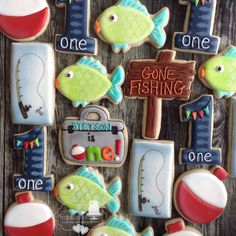 Big One fishy first birthday cookies First Birthday Cookies, First Birthdays, Sweet Treats, Sugar, Fish, Traditional, Desserts, Cakes, Tailgate Desserts