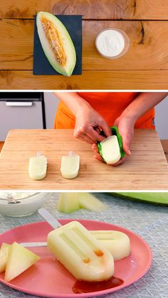 Melonen-Joghurt-Eis am Stiel - Cocinatis, Sin Gluten, Gluten Free, Cantaloupe, Ice Cream, Fruit, Eat, Desserts, Food, Yogurt