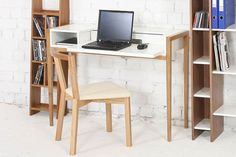 Conceived for apartments and small spaces, the Farringdon Laptop Desk by Leonhard Pfeifer for Woodman features a sliding work-top that can be extended to Laptop Desk, Work Tops, Cool Things To Buy, Stuff To Buy, Office Desk, Small Spaces, House Design, Cool Stuff, Apartments