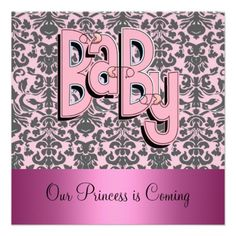 Damask and Pink Baby Shower Invitation
