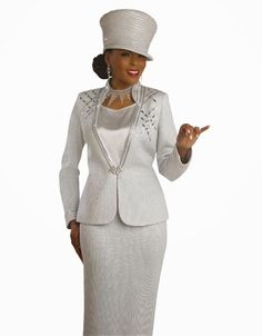 Silver Ladies Church or Wedding Suit Church Suits, Church Dresses, Bride Suit, Sunday Dress, Formal Suits, Dress Hats, Wedding Suits, Greys Anatomy, Suits For Women
