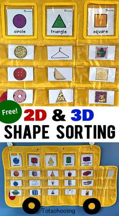 FREE printable Shape Sorting activity with 2D and 3D cards featuring real life objects to identify and sort. Great for preschoolers and kindergarten kids learning about shapes. Designed to be used with our Apple to Zebra pocket chart!