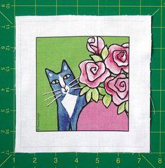 Cat Quilt Blocks | Cat Quilt Block Fabric/ Gray Tuxedo Cat Art/ Pre-Cut Quilting Square ...