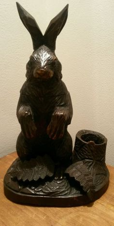 Hand Carved Black Forest Rabbit/ Hare Tobacco Jar and Match/Pipe holder