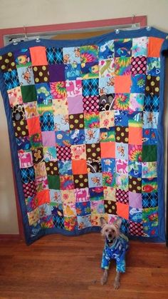 Fleece quilt made from dog clothes scraps