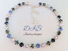 Tranquil, Swarovski Necklace, Bridal,Blue,Great Gift,Crystal,8MM,Denim,Light Sapphire,Crystal,Jet Hematite,DKSJewelrydesigns