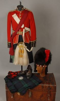 Black Watch Offr's Full Levee Dress Uniform with Accoutrements and Bonnet.