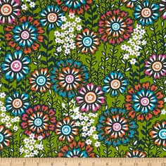 Global Bazaar Swinging Blossoms Green. Designed by Josephine Kimberling for Blend Fabrics