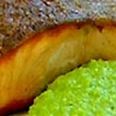 Try this Pan fried salmon pea and mint puree and crème fraiche recipe by Chef Gordon Ramsay. This recipe is from the show The F Word.
