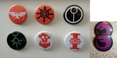 Warhammer 40k Races Pins/ Buttons  Set of 7  Tau by LaughingReaper, $9.00