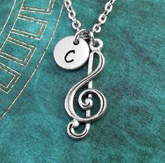 Your place to buy and sell all things handmade Stylish Jewelry, Cute Jewelry, Infinity Music, Musician Gifts, Music Jewelry, Letter Charms, Ball Chain, Hand Stamped, Antique Silver