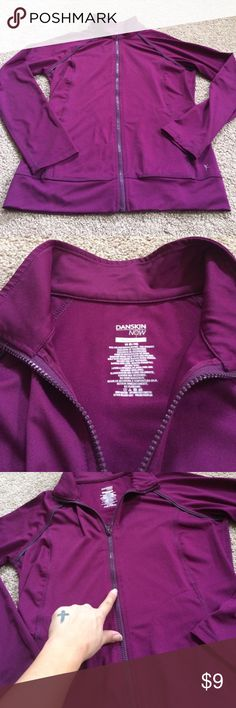 Eggplant Purple Zip Front Jacket- fitness wear- casual everyday. Versatile top. Flaws pictured- could probably remove with stain remover. Not noticeable while wearing. Price reflects. Lovingly used. Worn a few times. Danskin Now Tops