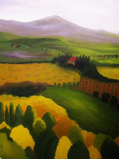 TUSCAN VALLEY LANDSCAPE Painting, Morning Sunrise, large original acrylic, 18 x 24 in. canvas fields woods hills by TheMarchOfTime on Etsy
