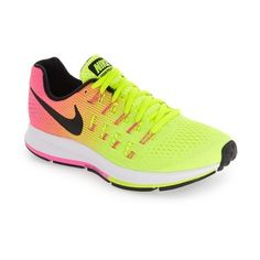 Women's Nike 'Air Zoom Pegasus 33' Sneaker featuring polyvore, women's fashion, shoes, multi color, multi color shoes, long shoes, lock shoes, air cushion shoes and nike