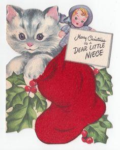 Vintage Greeting Card Christmas Cat Kitten Die-Cut Baby Doll Flocked Stocking