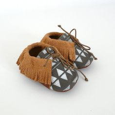 Baby mocassins S.18 69 months white / khaki by ANAAME on Etsy, €39.00