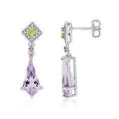 Multi-Gemstone Dangle Earrings in Sterling Silver available at #HelzbergDiamonds #Peridot #AugustBirthstone