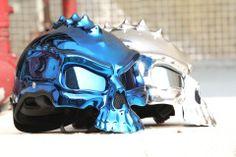 MASEI BLUE CHROME SKULL 489 MOTORCYCLE CHOPPER HELMET FOR HARLEY DAVIDSON BIKER - Masei Helmets Online Stores