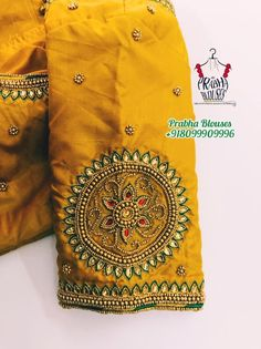 Silk Saree Blouse Designs, Bridal Blouse Designs, Aari Embroidery, Embroidery Designs, Mirror Blouse Design, Indian Gowns Dresses, Maggam Works, Stylish Blouse Design, Yellow Fashion