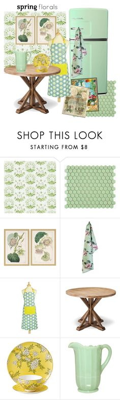 """""""Green Floral Kitchen"""" by metter1 ❤ liked on Polyvore featuring interior, interiors, interior design, home, home decor, interior decorating, Merola, Home Decorators Collection, Kitchen Craft and Wedgwood"""