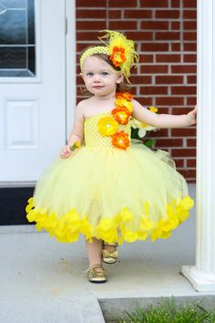 YELLOW FLOWER GIRL Tutu Dress with rose petals for 2t-5t Yellow and orange Flower Girl on Etsy, $65.00