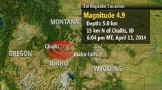 Sunday, April 13, 2014, 3:28 PM -  A 4.9-magnitude earthquake shook central Idaho , flinging items off walls and scaring residents but otherwise producing no reported damage or injuries in the sparsely populated mountain area.